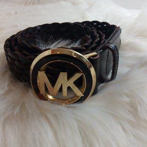 Michael Kors Tortoise Shell Gold Logo Buckle Belt